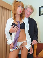 Mischievous t-girl Merry gets her bare ass spanked