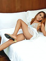 Young smooth curvy ladyboy beats her meat